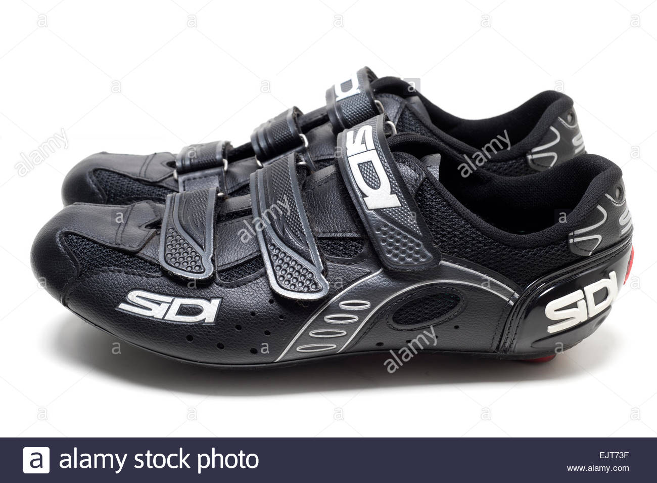 Mens Sidi Road Biking Cycling Shoes Black on a white background velcro straps made in Italy Racing - Stock Image