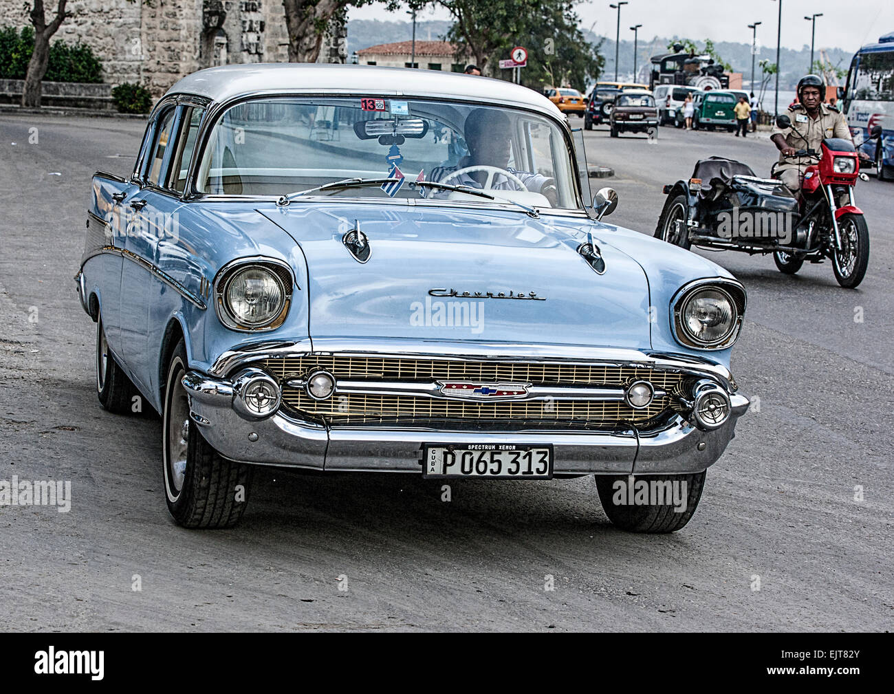 Old light blue Chevrolet American car in Havana Cuba with an old ...