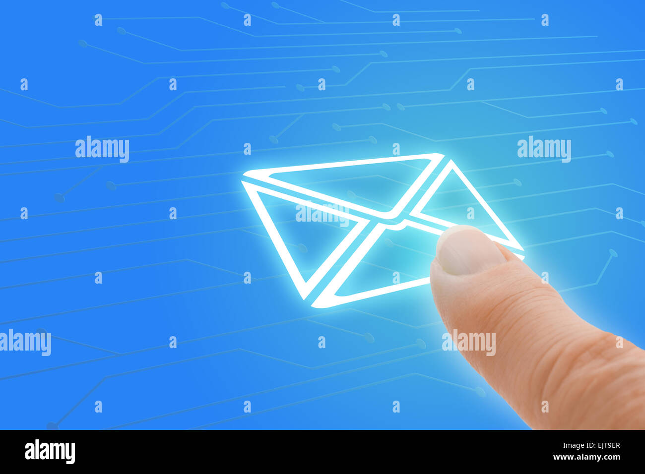 Email Touch Screen Finger Pointing to Envelope Icon - Stock Image