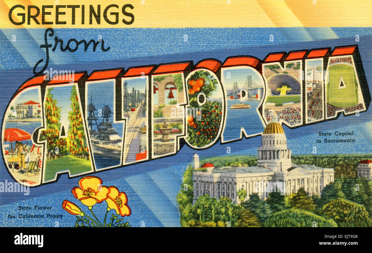 Greetings from california stock photos greetings from california large letter greetings from california state name vintage postcard ca 1930s 1940s m4hsunfo