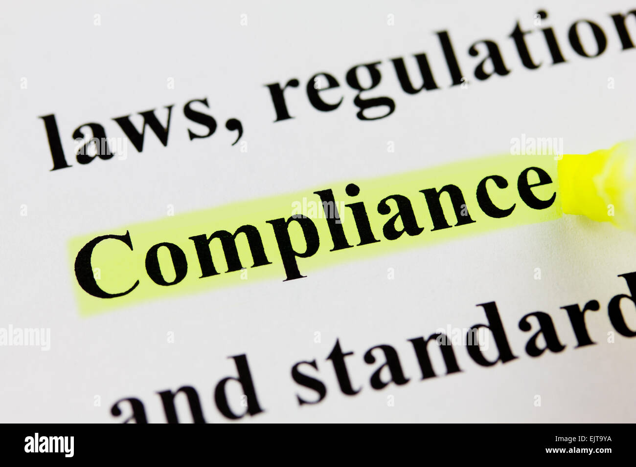 Word Compliance with Highlighter - Stock Image