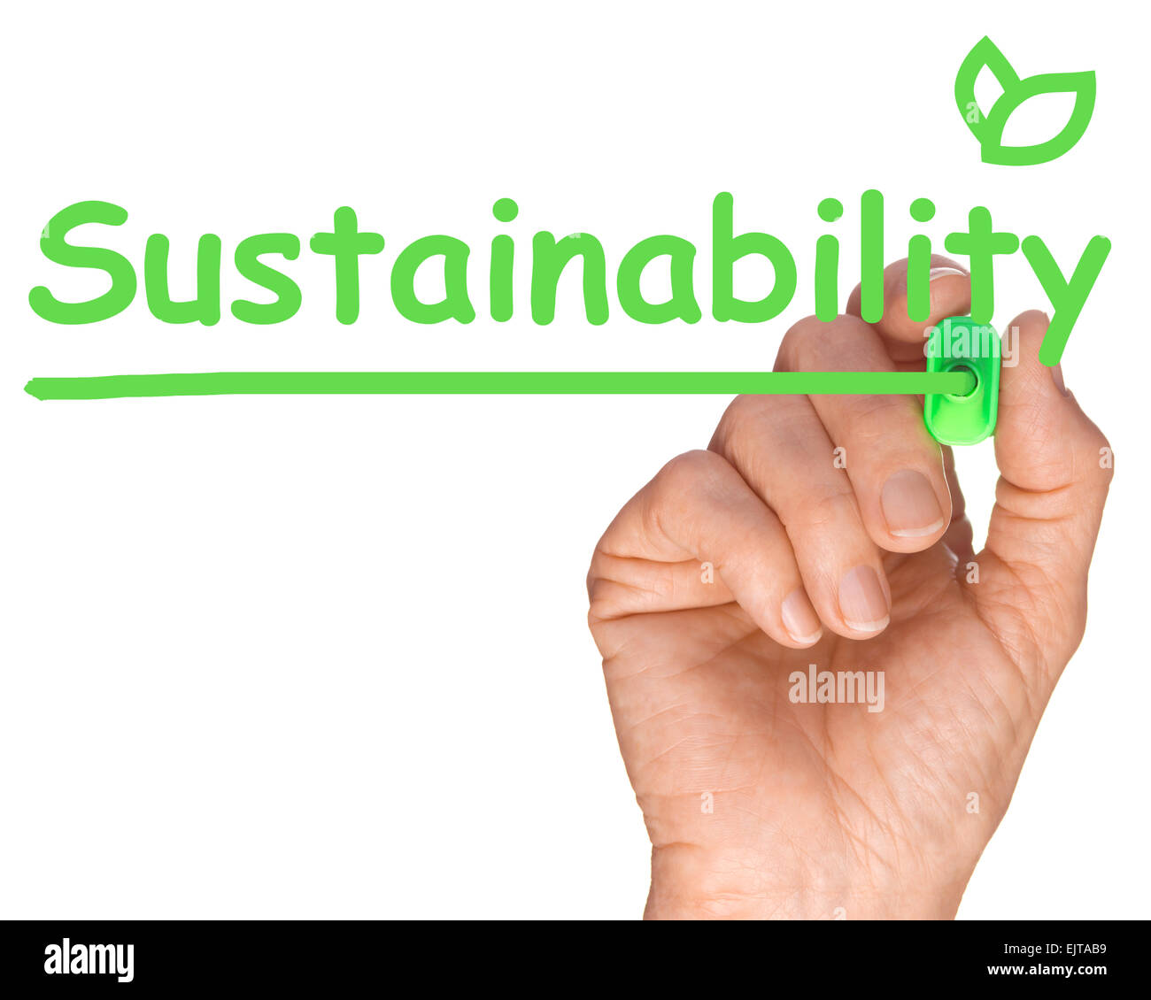 Ecology concept - Hand with Green Pen Drawing Sustainability - Stock Image