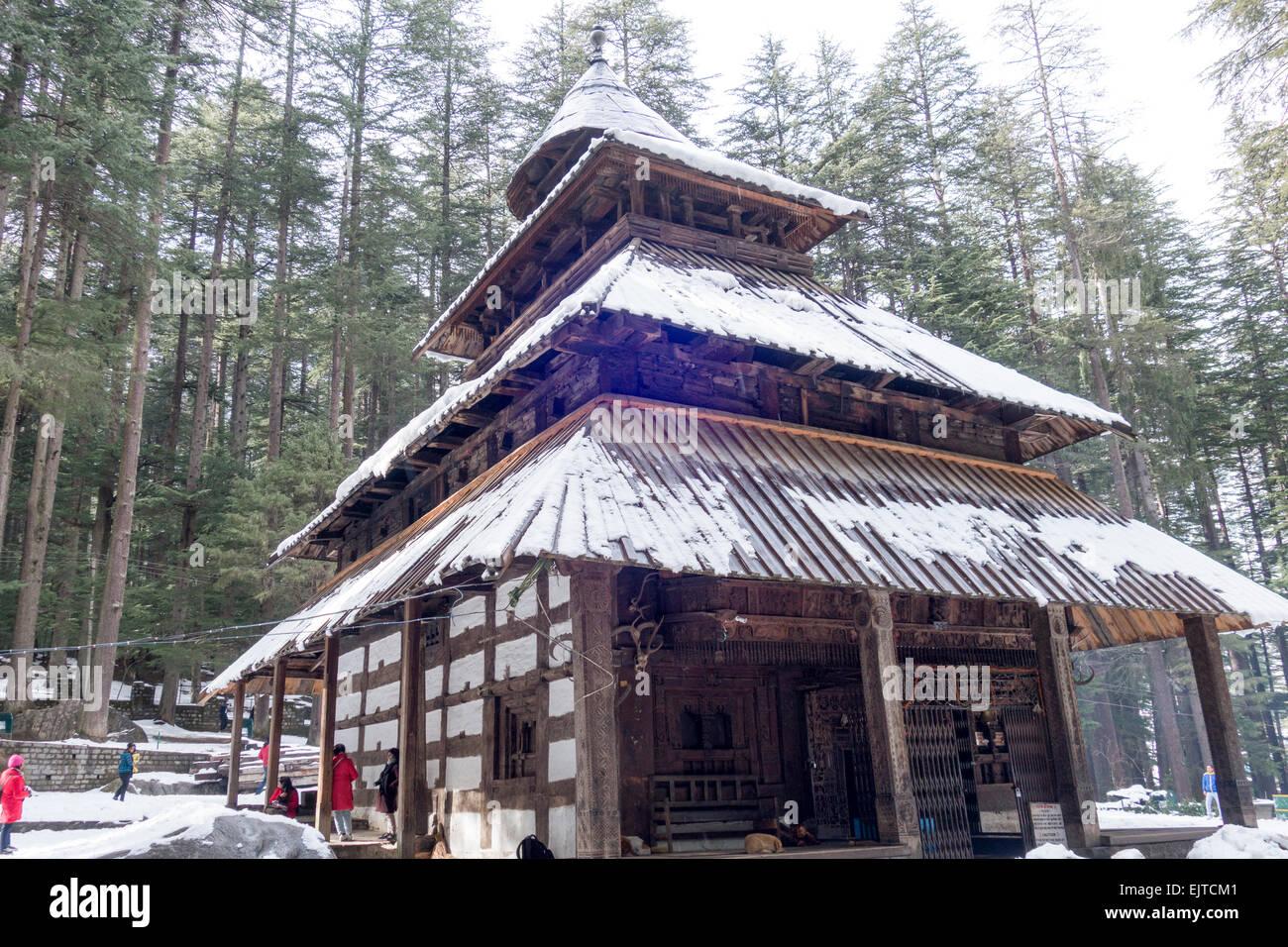 Hadimba temple in Manali India - Stock Image