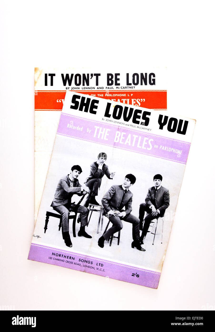 Copies of sheet music of a couple of Beatles numbers from the sixties. Stock Photo