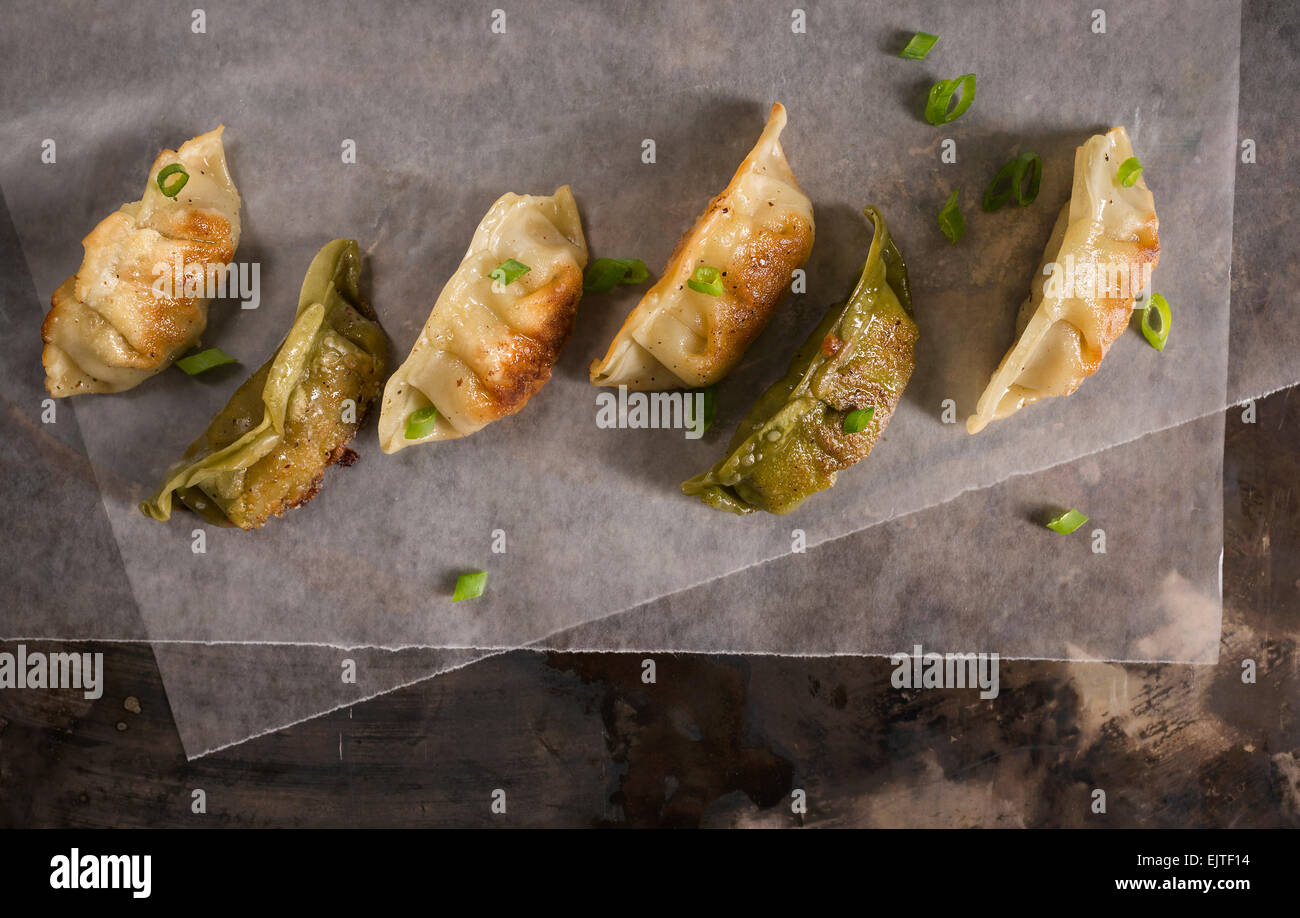 A variety of pan seared pork and vegetable pot stickers on wax paper on a rustic metal surface with fresh green - Stock Image