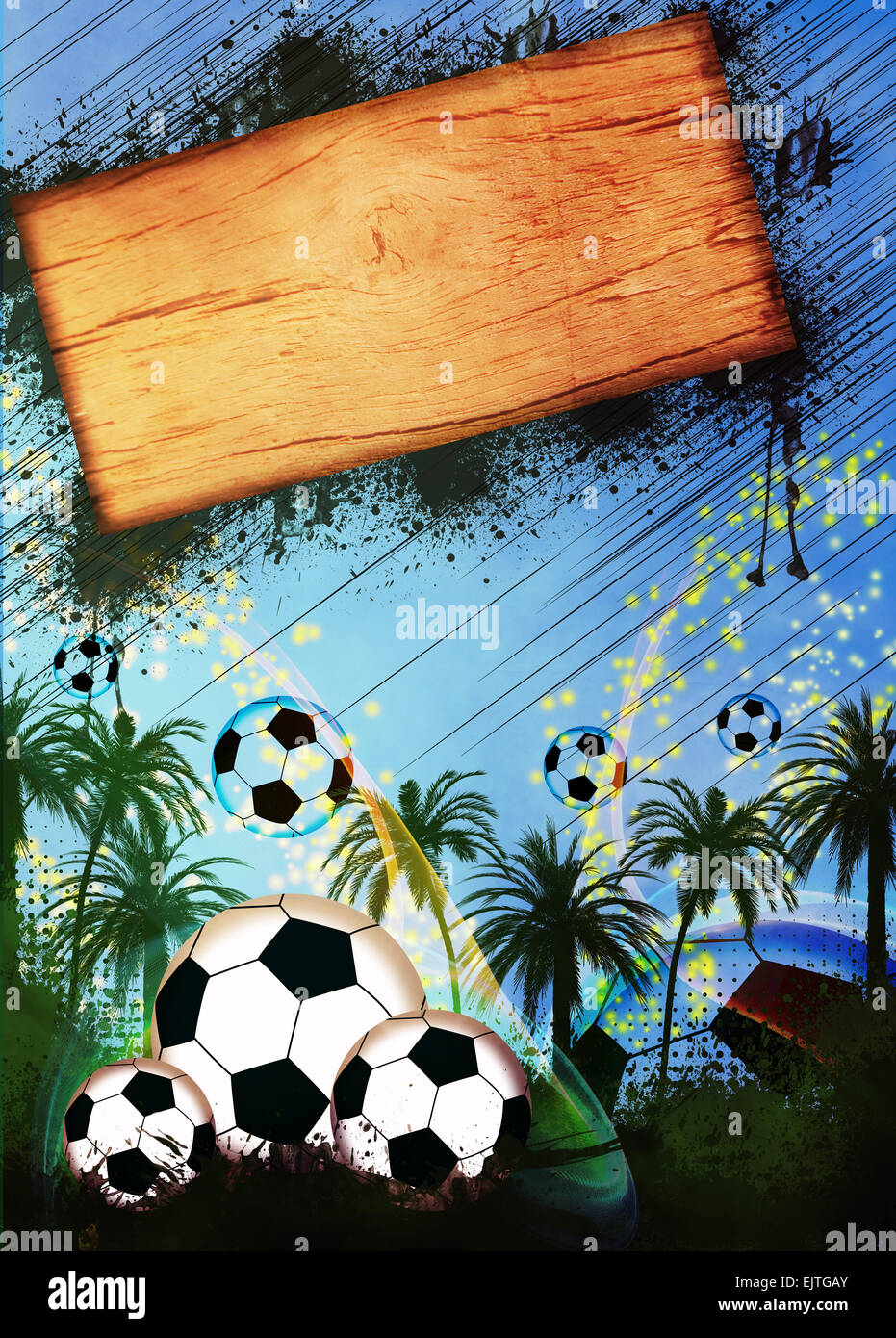 Football or soccer invitation poster flyer and other advert Stock