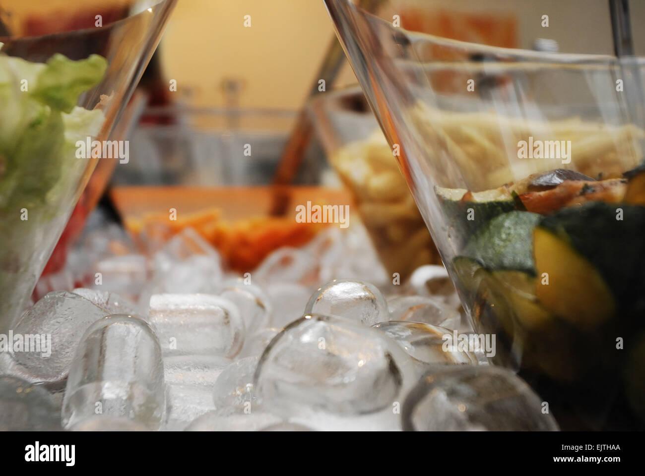 Salads on ice - Stock Image