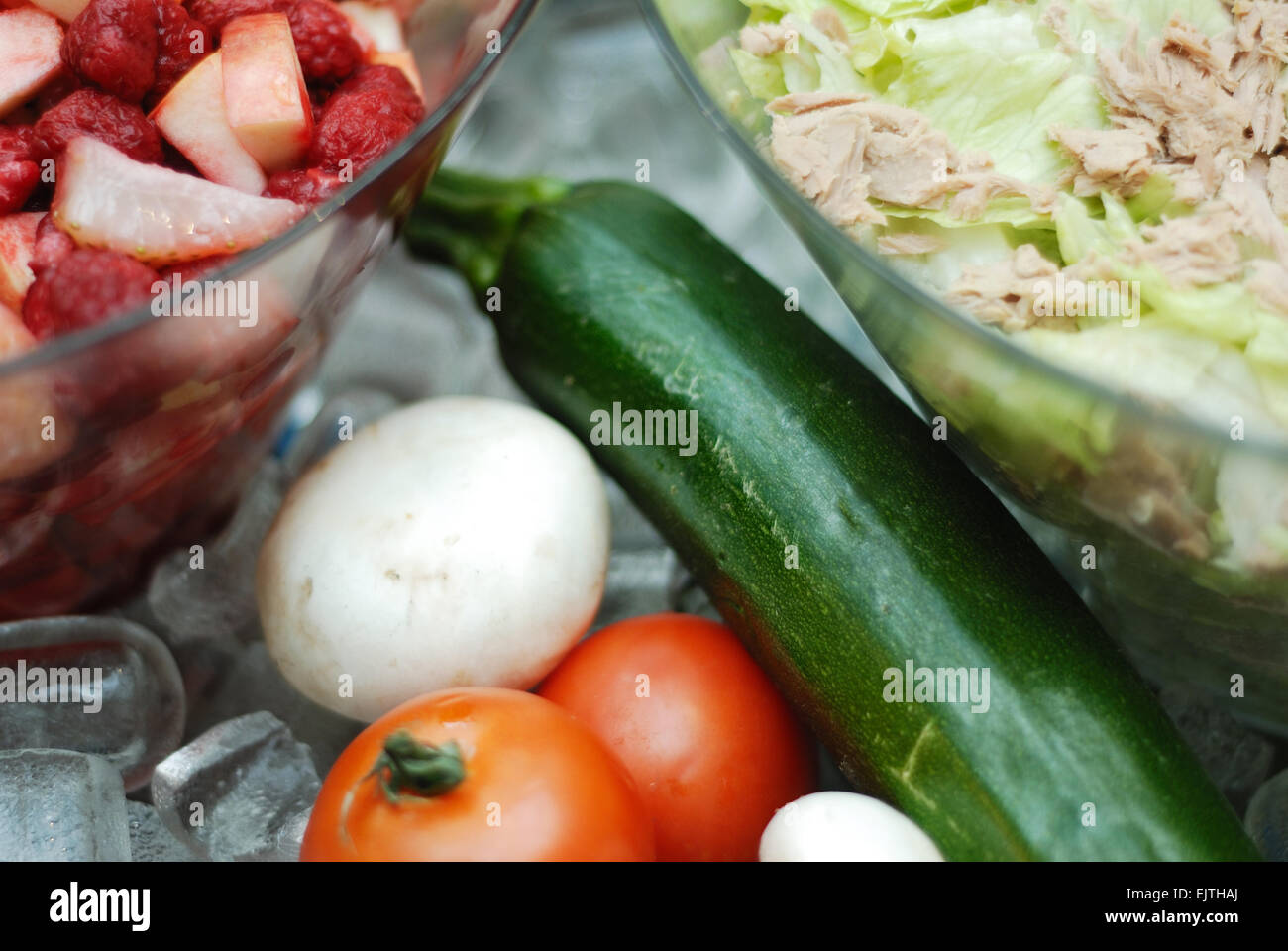 salads and ingredients on ice - Stock Image