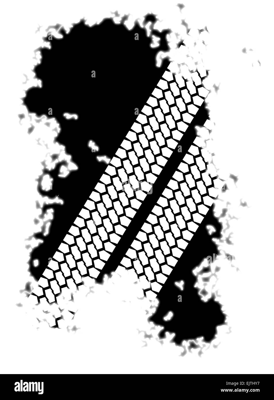Two tyre tread patterns through a black splatter isolated on a white background..... - Stock Image