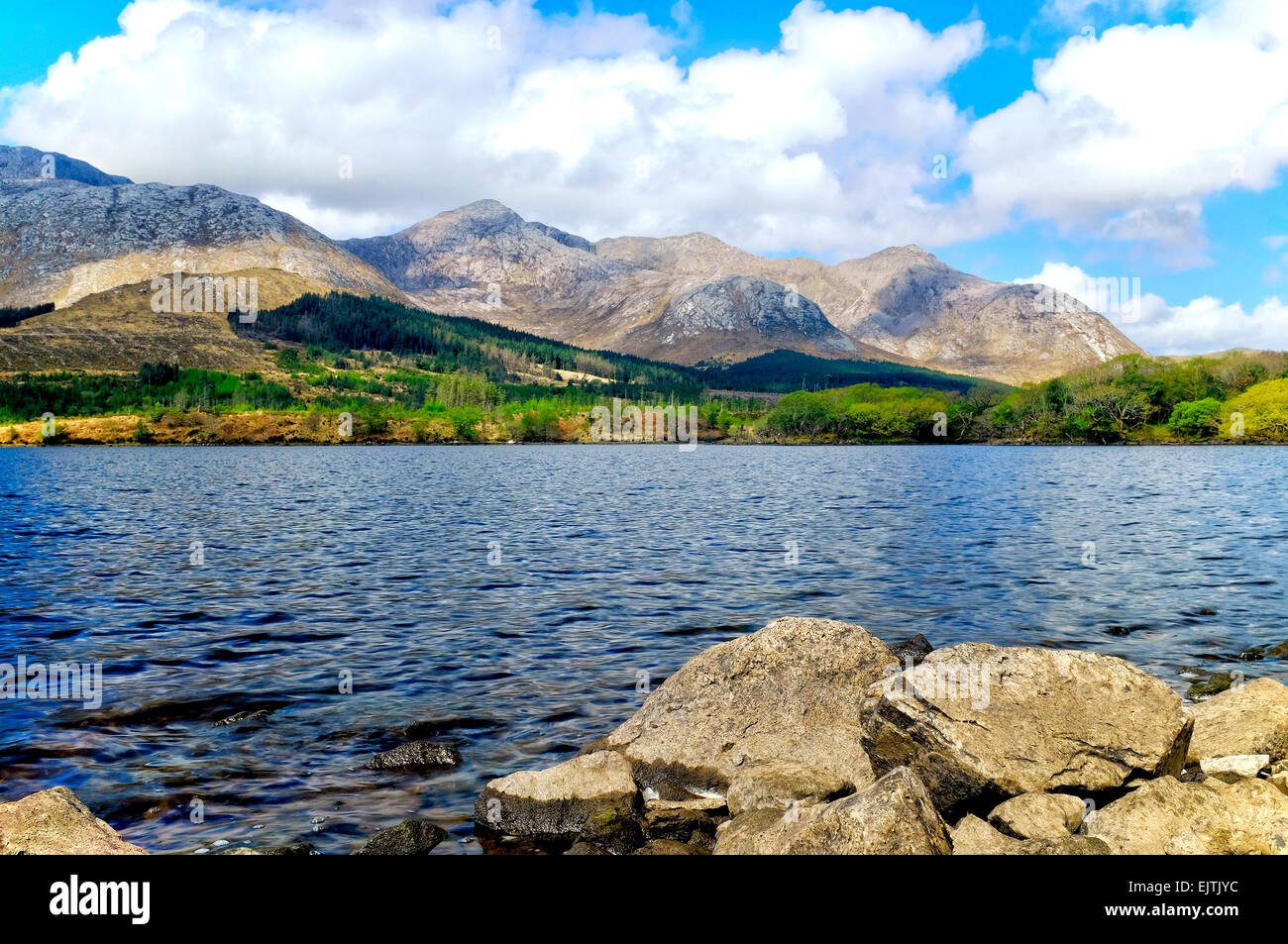 A view of Lough Inagh, Connemara, Ireland, - Stock Image