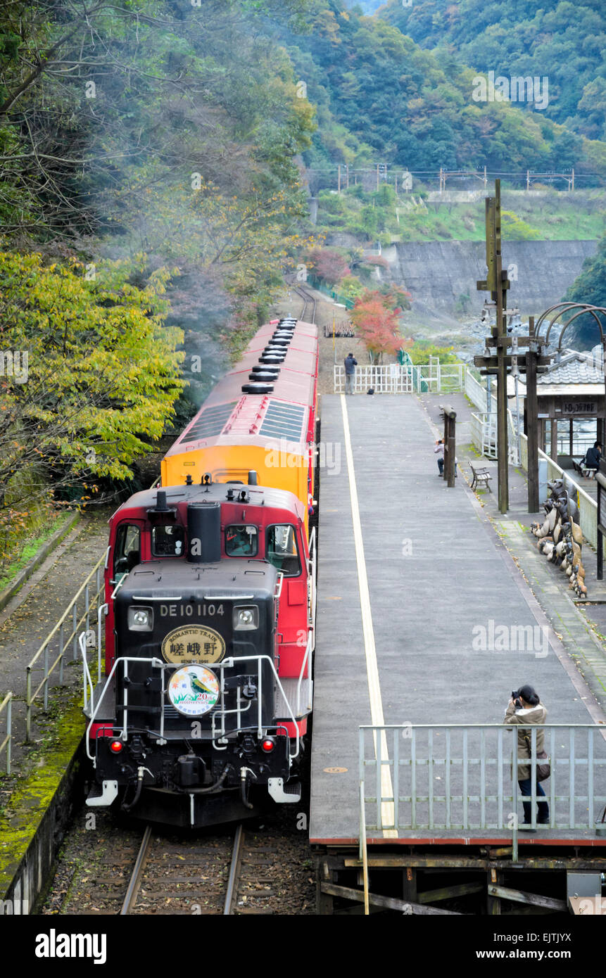 Old style train on a scenic railway in Japan - Stock Image