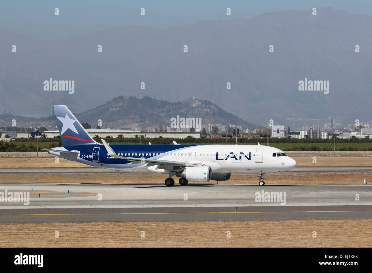 LAN Airlines Airbus A320-200 registered CC-BFH, at Santiago Airport - Stock Image