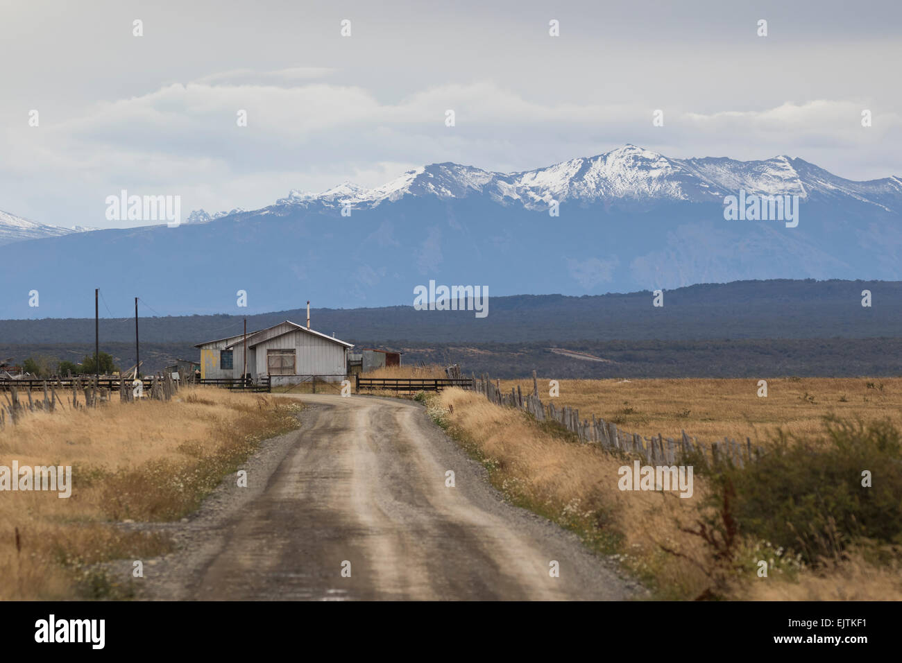 Typical Patagonian farmstead, Chile. - Stock Image