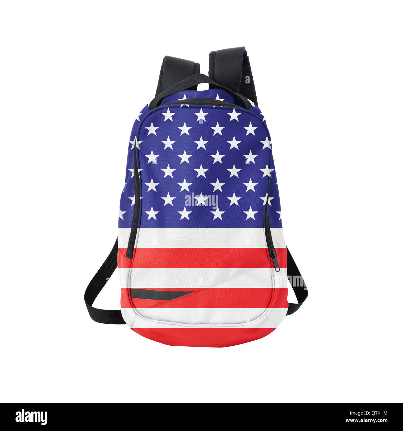 U.S. flag backpack isolated on white background. Back to school concept. Education and study abroad. Travel and - Stock Image
