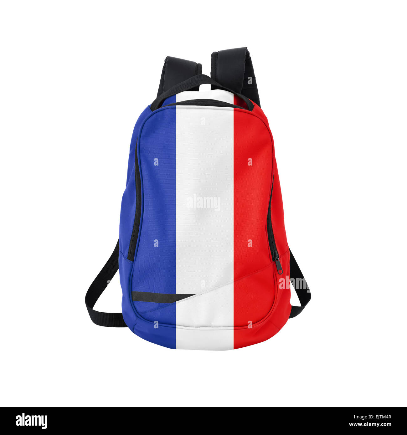 France flag backpack isolated on white background. Back to school concept. Education and study abroad. Travel and - Stock Image