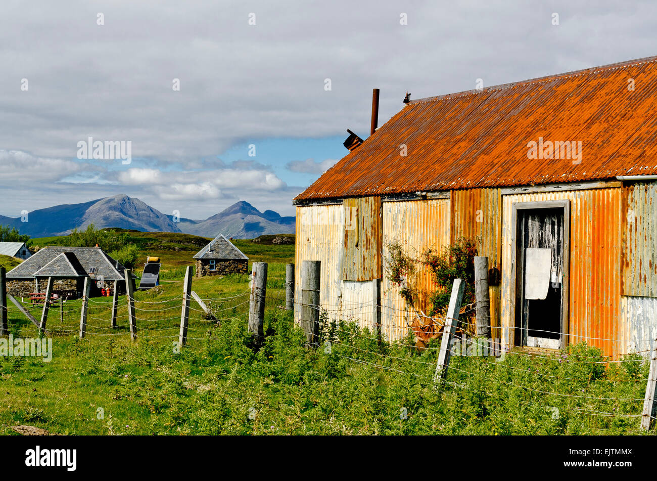 rusty old shed isle of muck - Stock Image