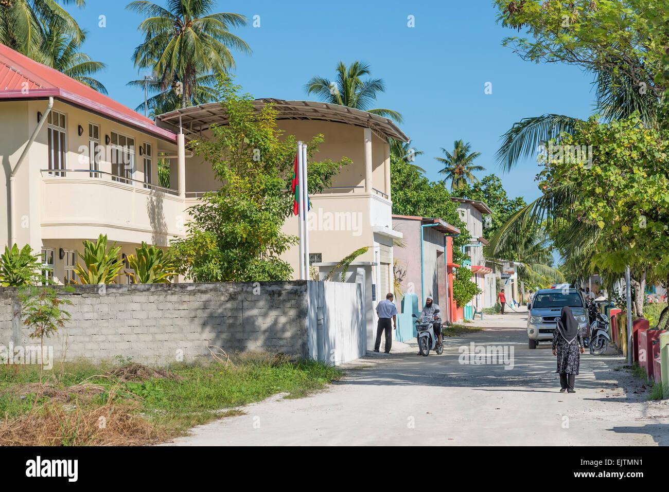 Maradhoo, Local Island in Addu Atoll, Maldives - Stock Image