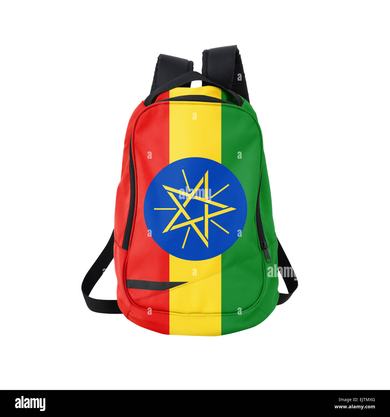 Ethiopian flag backpack isolated on white background. Back to school concept. Education and study abroad. Travel - Stock Image