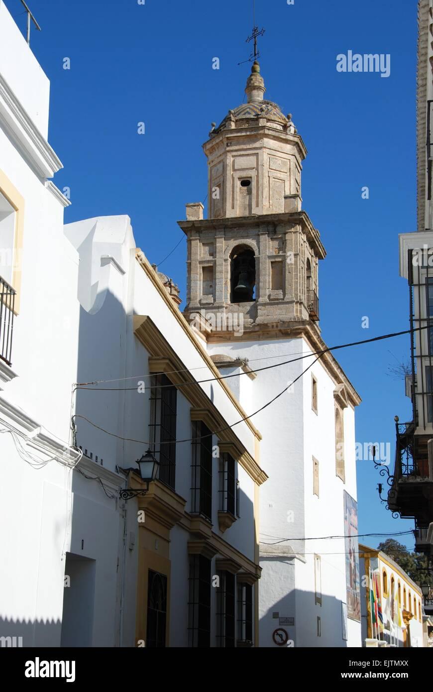 Church with bell tower (Neustra Senora de la Caridad), Sanlucar de Barrameda, Cadiz Province, Andalusia, Spain, - Stock Image