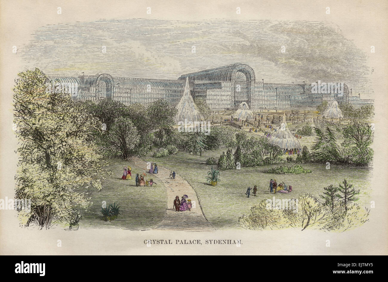 Hand tinted engraved print of the new Crystal Palace, Sydenham UK circa 1854 - Stock Image