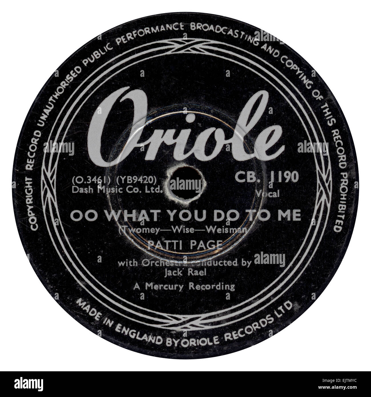 Oriole 78 rpm record label released July 1953 by Patti Page - Stock Image