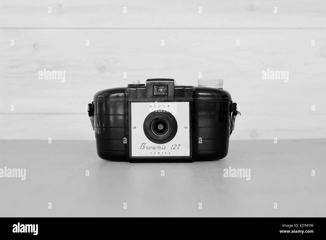 Vintage Brownie 127 film camera. - Stock Image