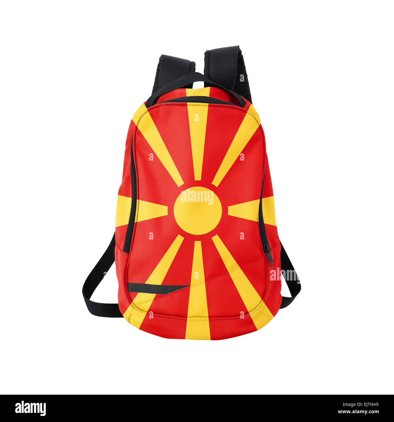 Macedonian flag backpack isolated on white background. Back to school concept. Education and study abroad. Travel - Stock Image