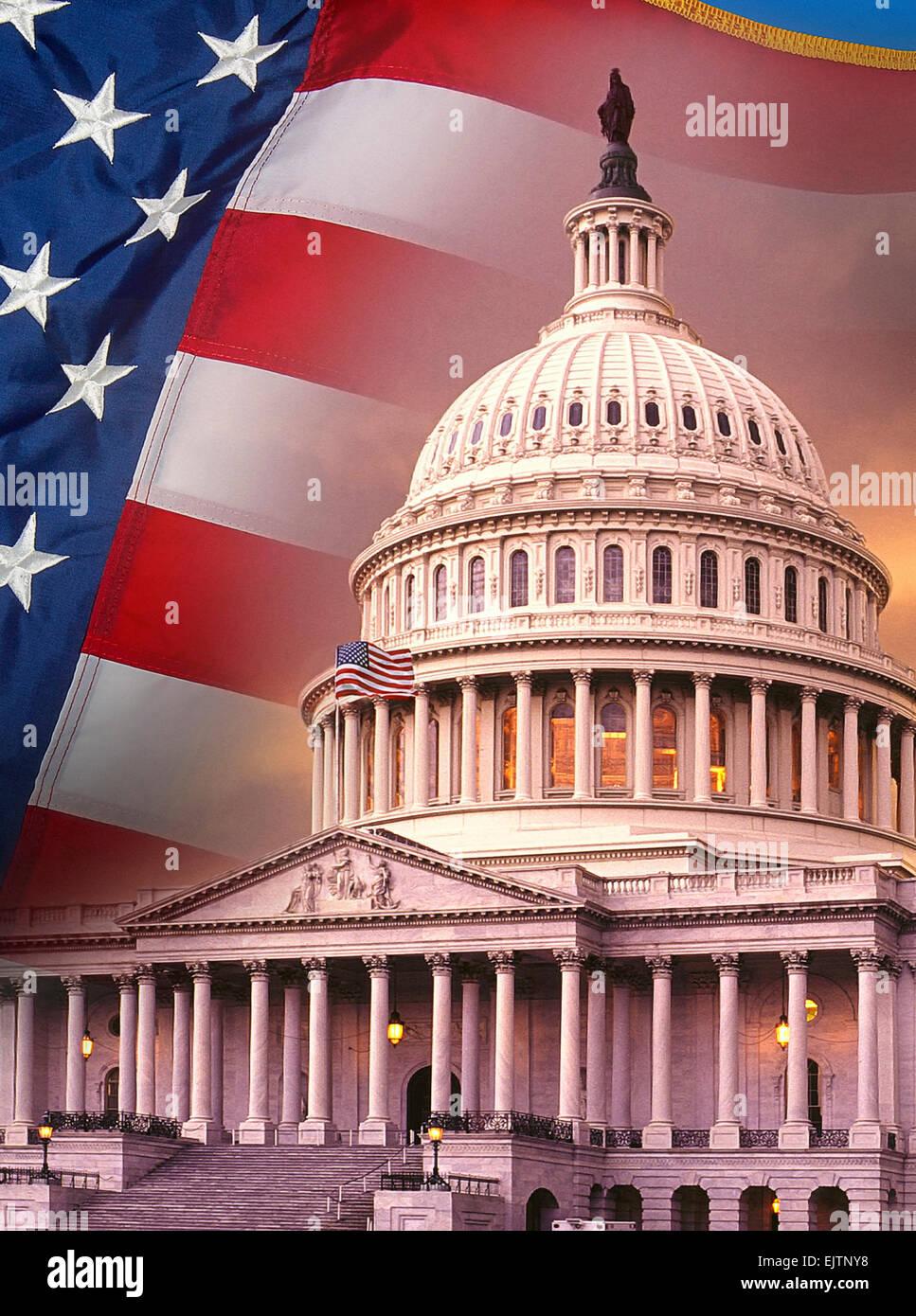 Patriotic Symbols Of The United States Of America Stock Photo