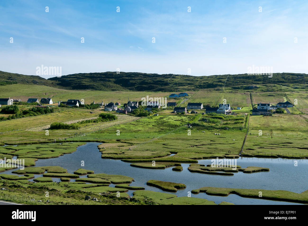 leverburgh crofting community runrig system marsh agricultural settlement - Stock Image