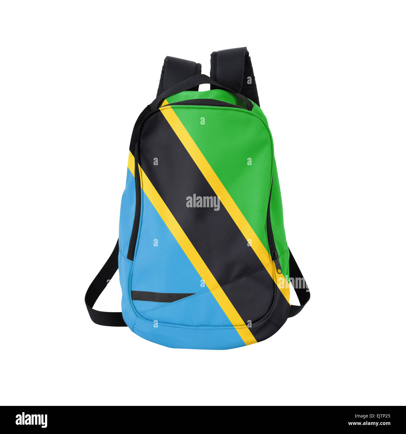 Tanzanian flag backpack isolated on white background. Back to school concept. Education and study abroad. Travel - Stock Image