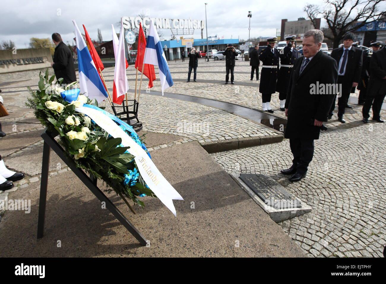 Gdans, Poland 1st, April 2015 President of FinlandSauli Niinisto visit to Gdansk. Sauli Niinisto laid flowers under - Stock Image