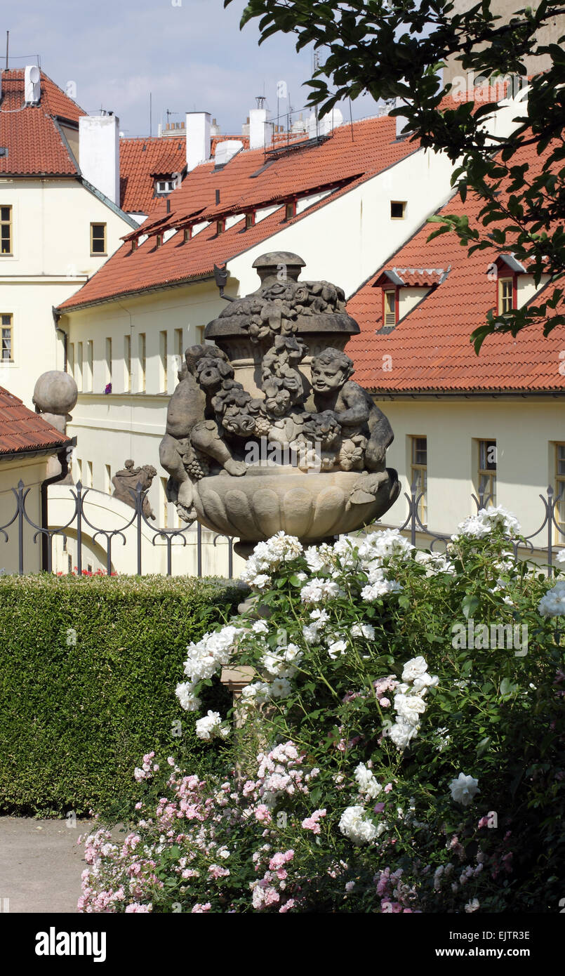 Sculpture and detail from Vrtba Baroque Garden in Pragues Lessor Town - Stock Image