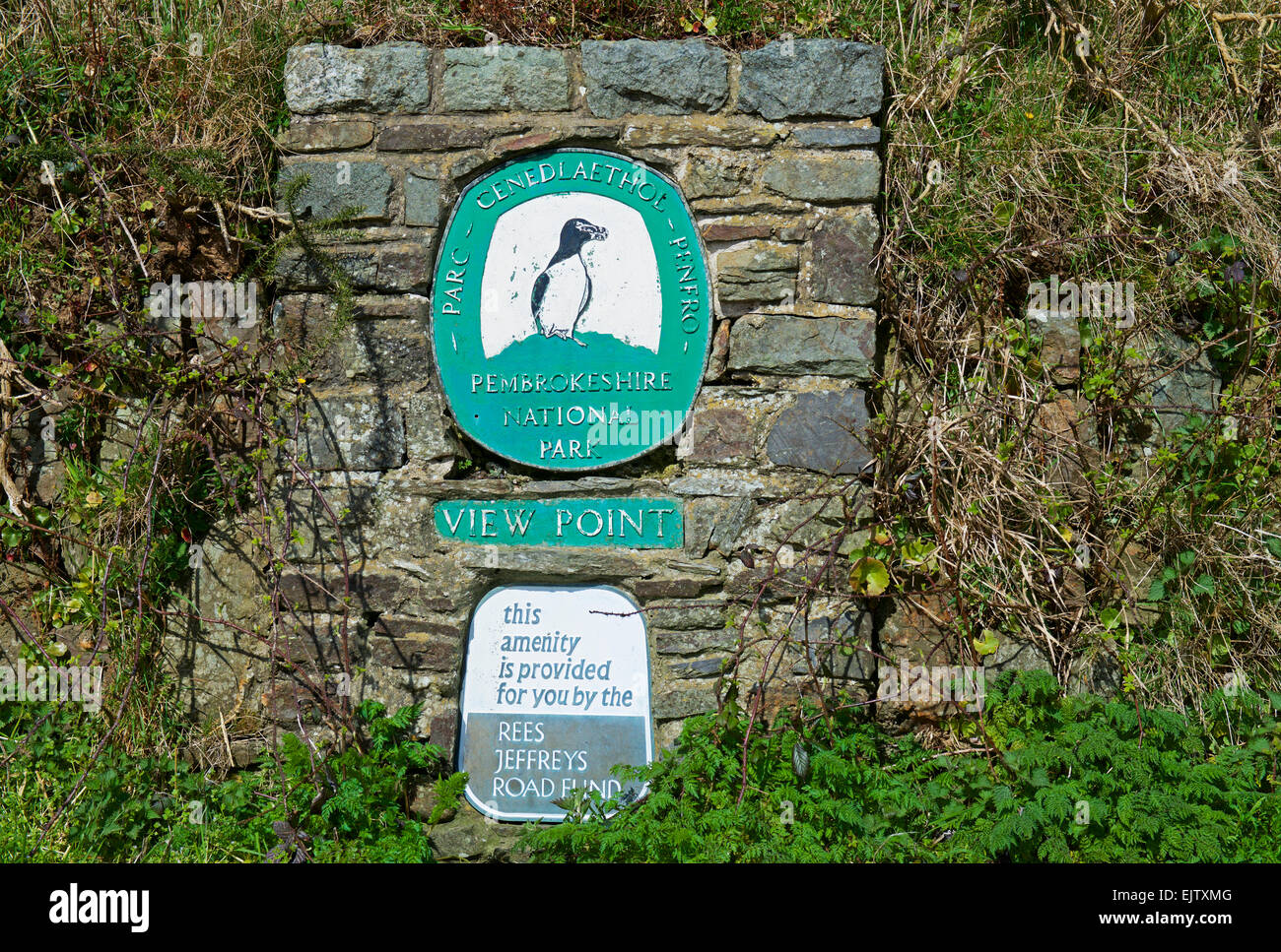 Sign at view point for Pembrokesire Coast National Park, Wales UK - Stock Image