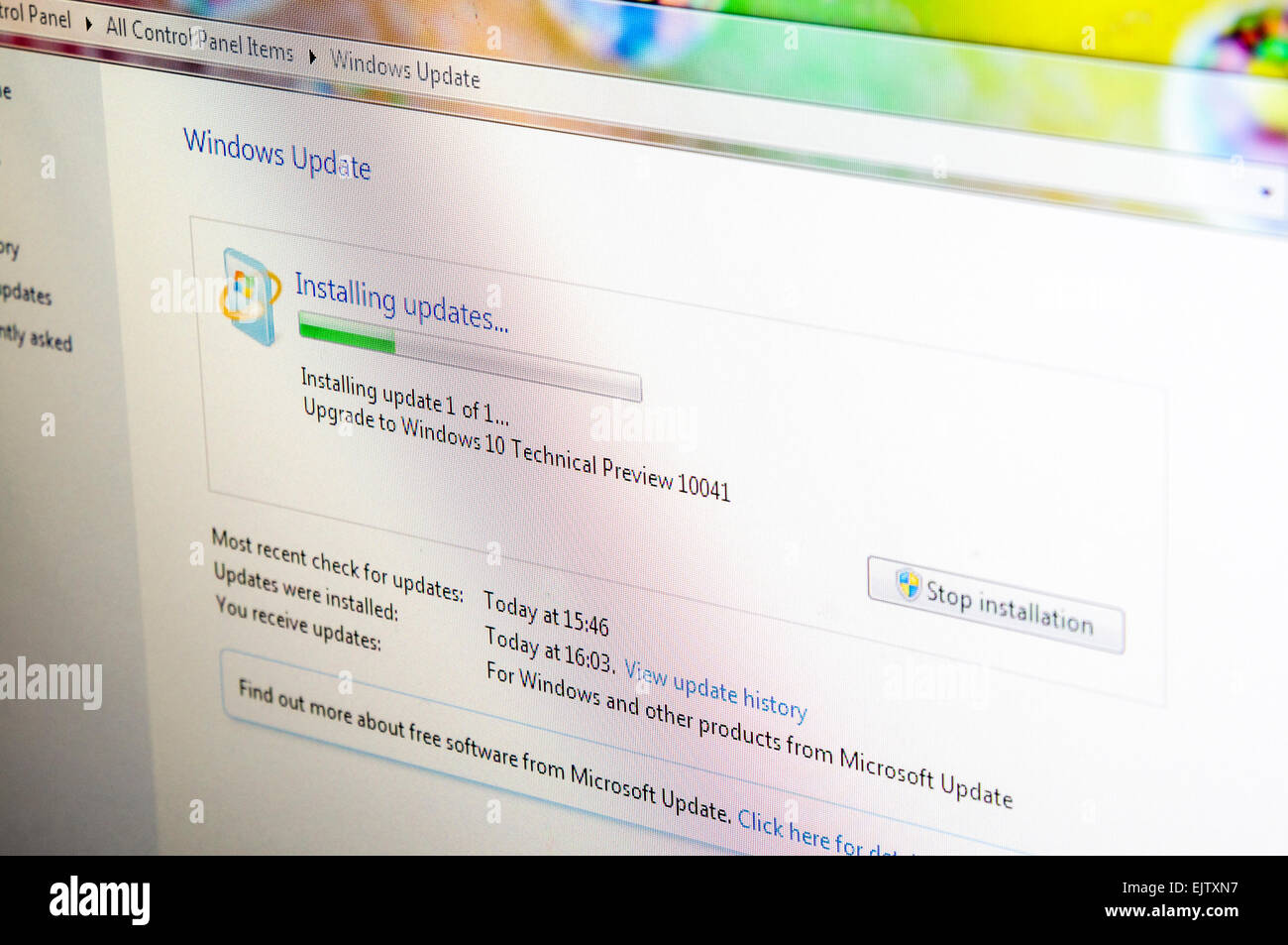 Installing Windows 10 Technical Preview build 10041, a public beta release. - Stock Image