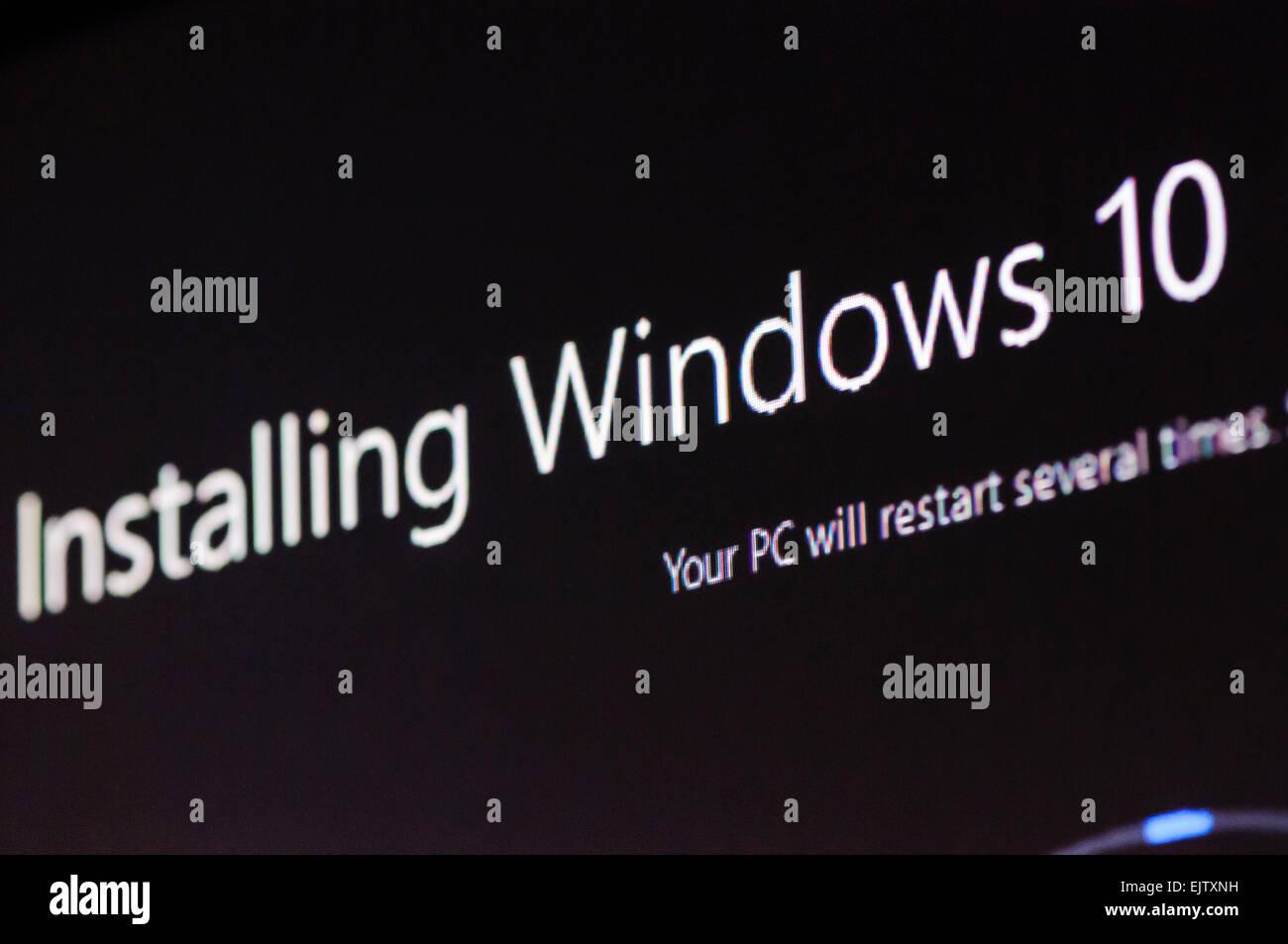 Installing Windows 10. - Stock Image