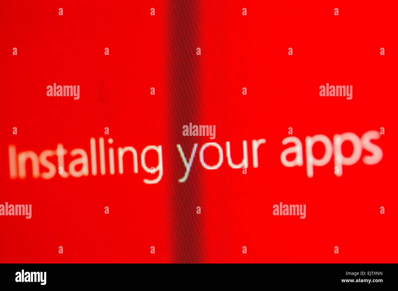 Windows 10 screen saying 'Installing your apps' - Stock Image