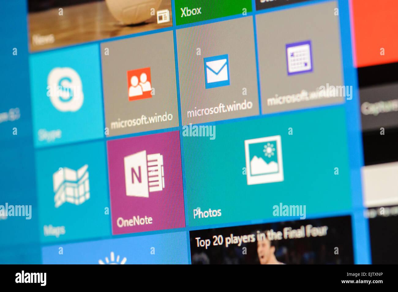 Tiles on the Windows 10 start menu - Stock Image