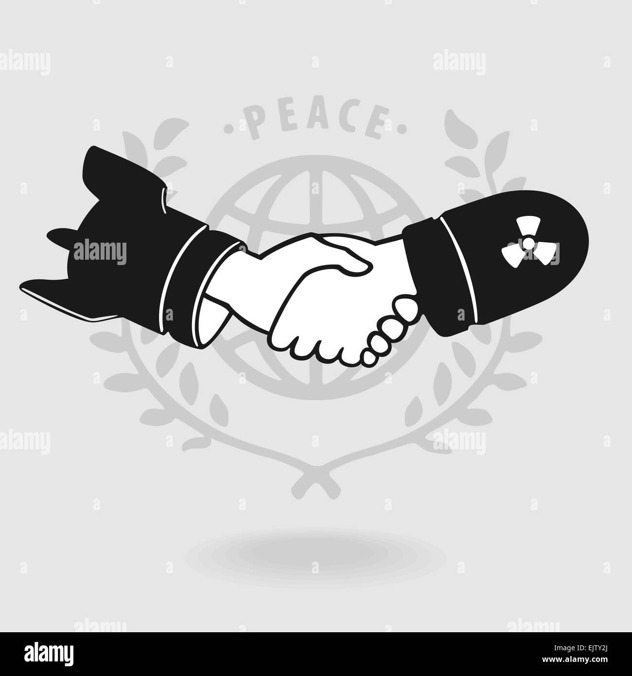 Symbol Shaking Truce - Stock Image