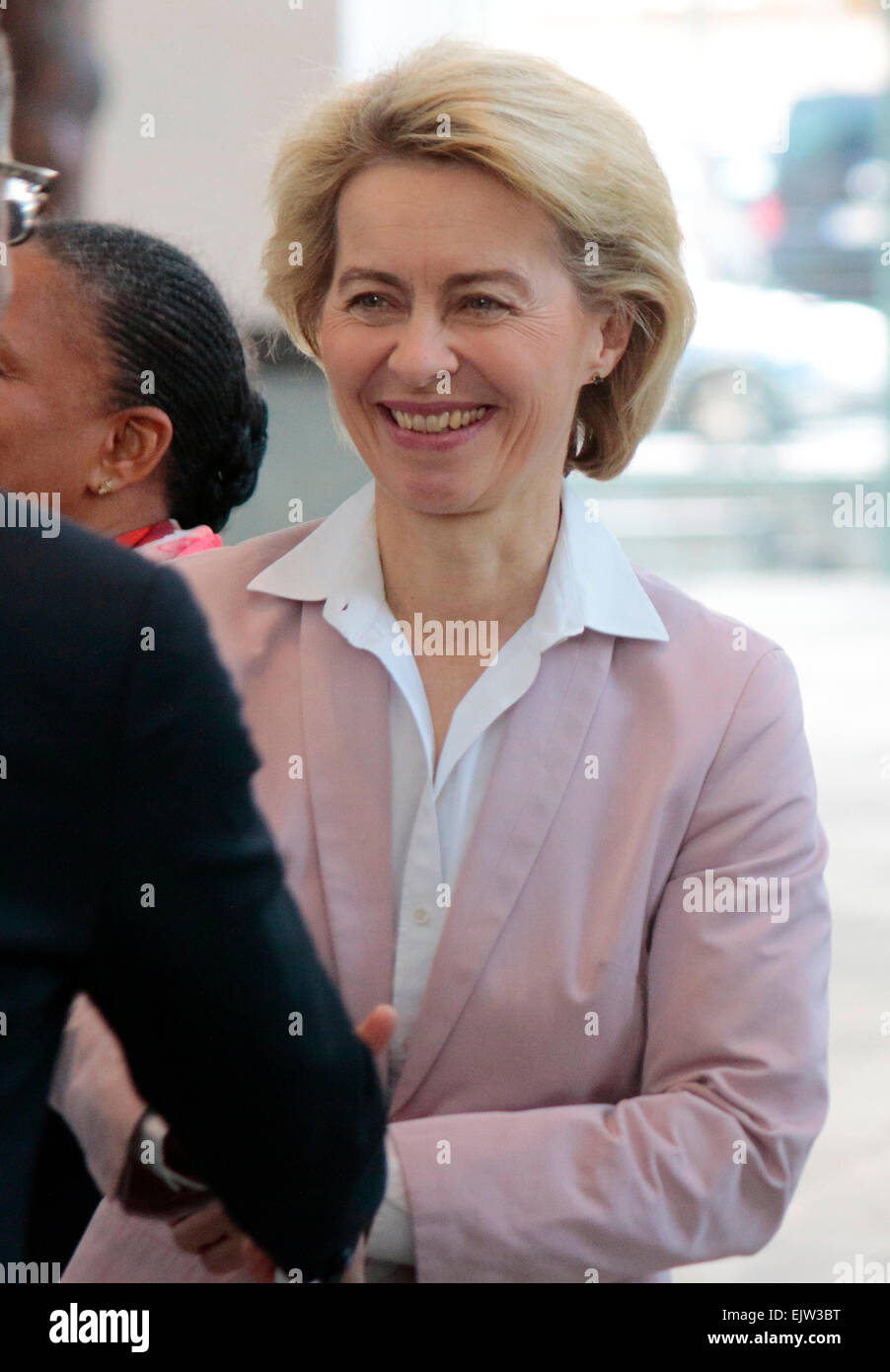 MARCH 31, 2015 - BERLIN: German defense minister Ursula von der Leyen at a photo opp before a meeting of the German - Stock Image