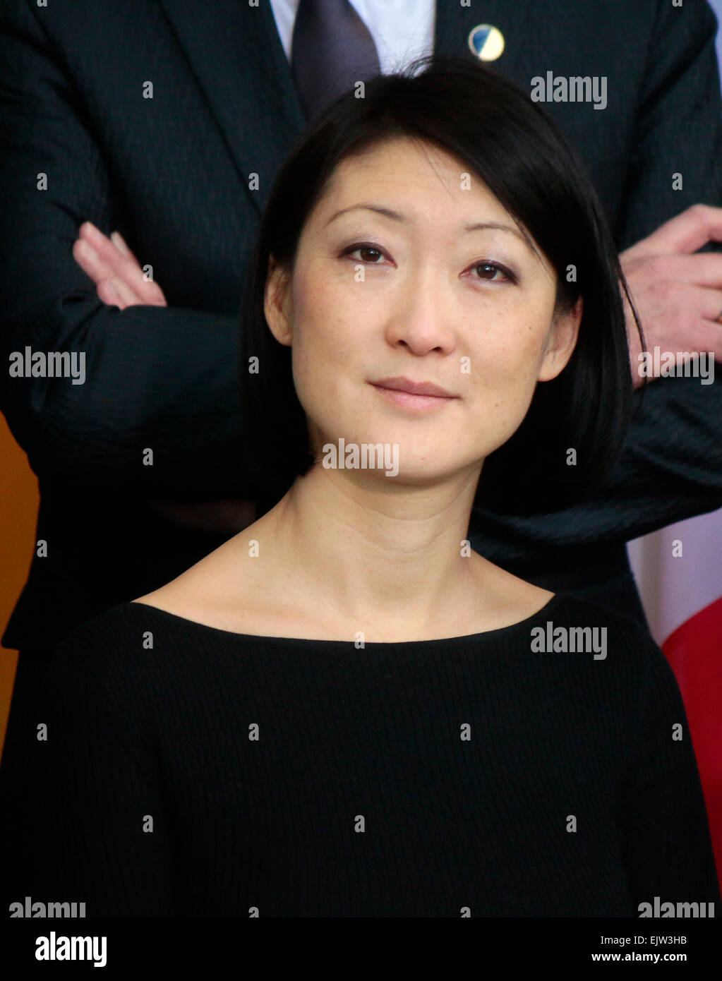 MARCH 31, 2015 - BERLIN: French culture minister Fleur Pellerin at a photo opp before a meeting of the German and - Stock Image