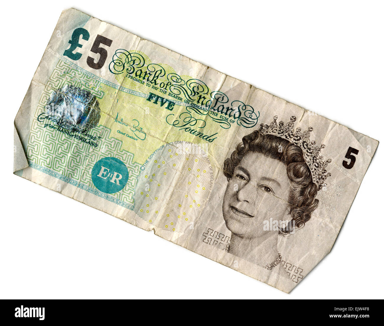 Used Old £5 Pound Note, front view - Stock Image