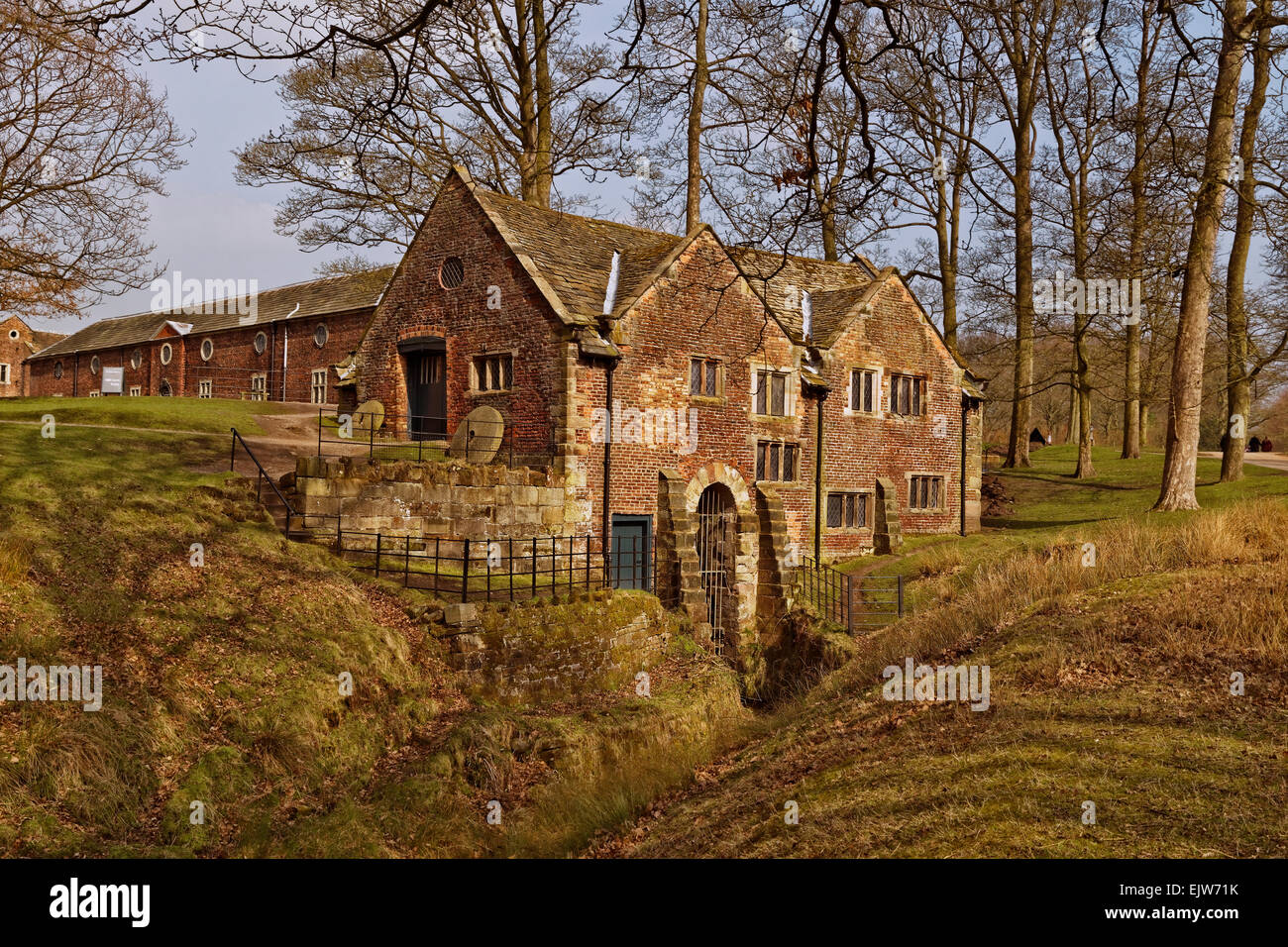 The Water Mill of Dunham Massey Hall near Altrincham, Trafford, Greater Manchester County and formerly in Cheshire. - Stock Image