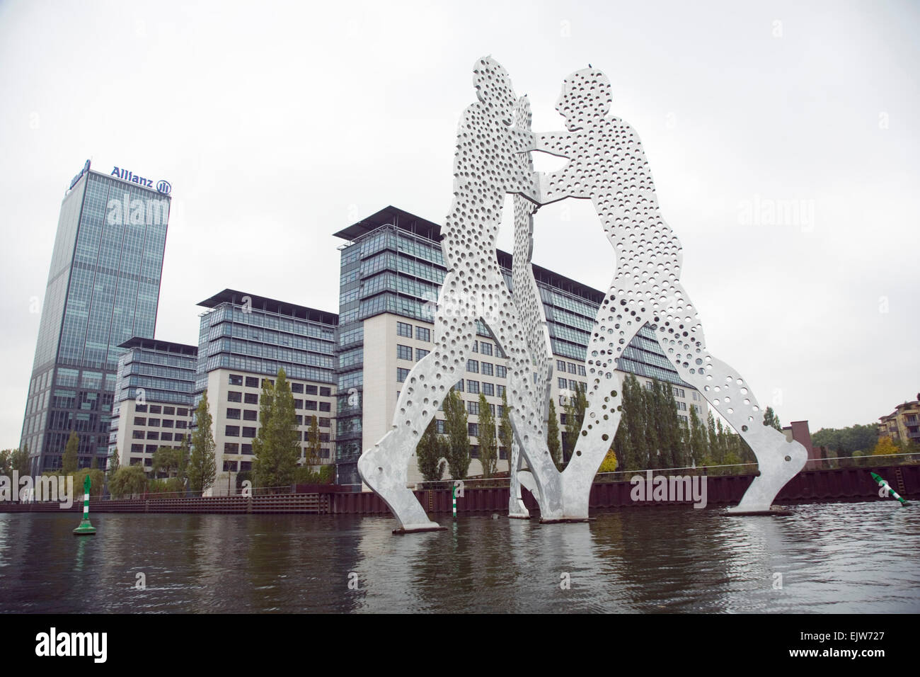 The statue 'Molecular man' by Jonatan Borofsky in Berlin in germany - Stock Image