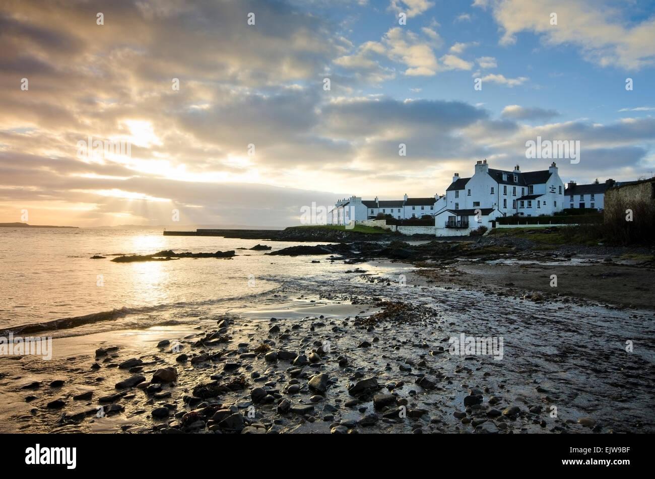 port charlotte isle of islay bay sunset shore - Stock Image