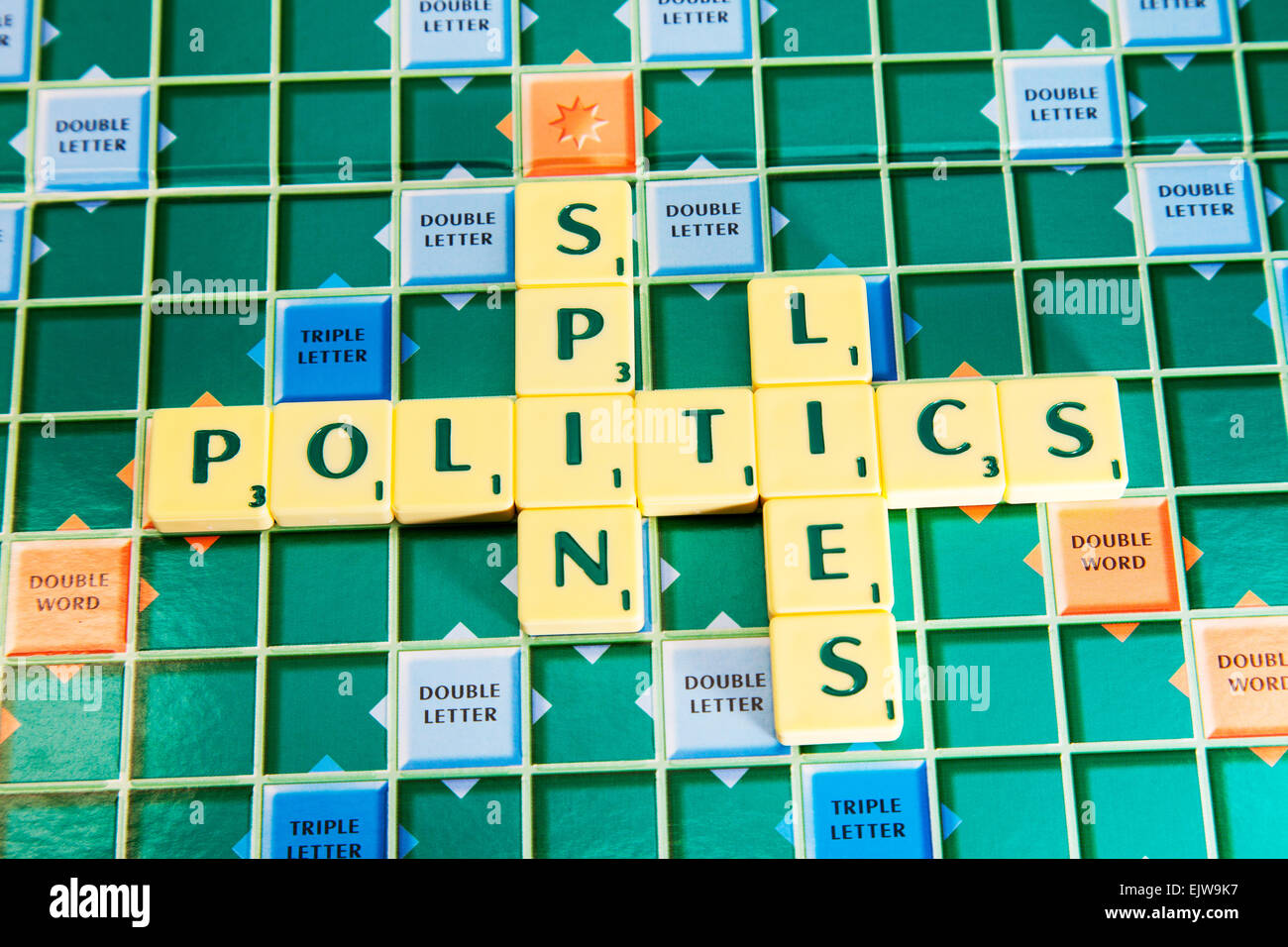 politics lies spin election government politicians political manifesto manifestos words using scrabble tiles to - Stock Image