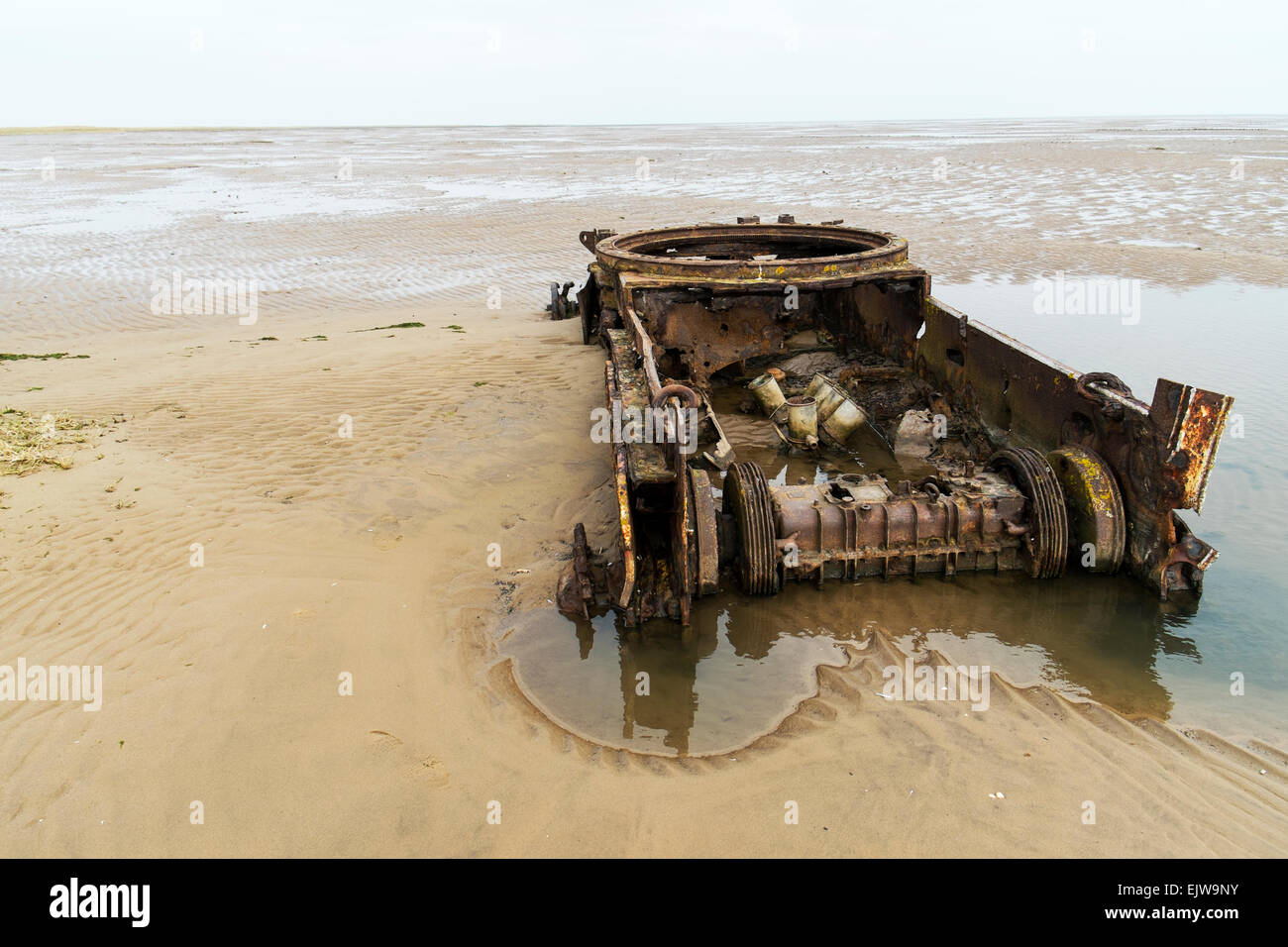 WW2 tank rusting in sand dunes on Lincolnshire coast remains to be used for target practice RAF bombing shooting - Stock Image