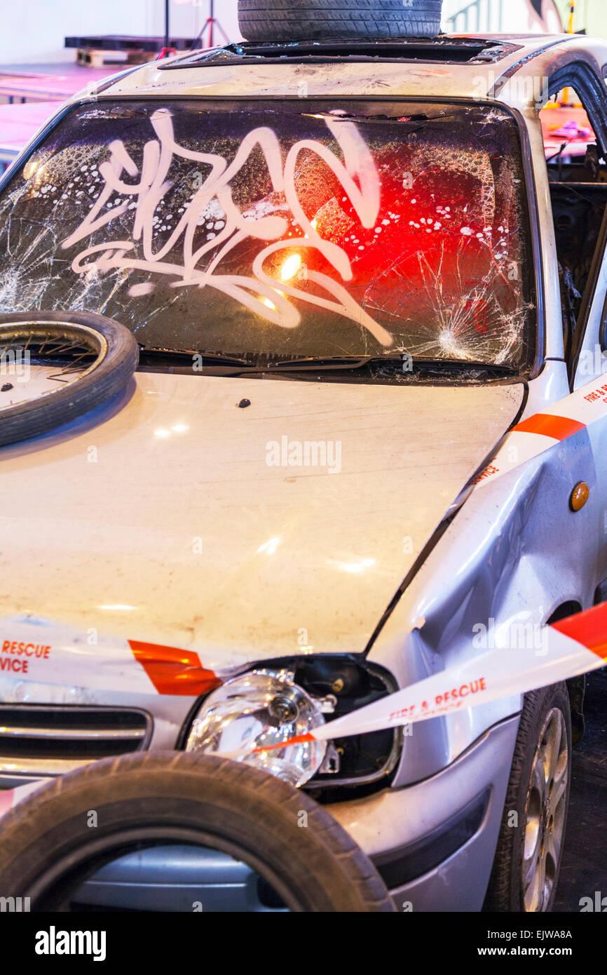 car accident wreckage vandalised vandalized smash smashed up wright off recked wreaked dents dented broken - Stock Image
