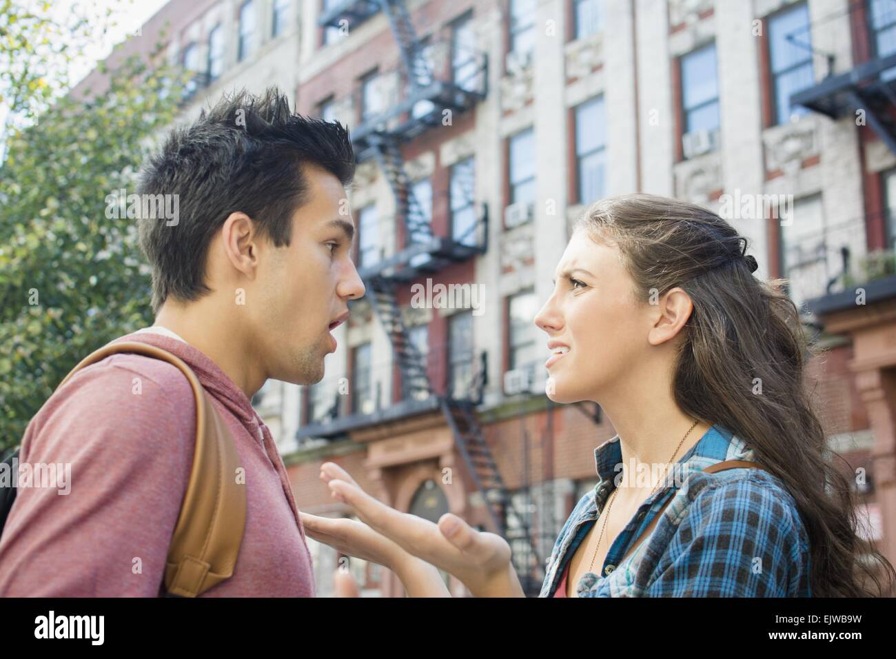 USA, New York State, New York City, Brooklyn, Young couple having relationship difficulties - Stock Image