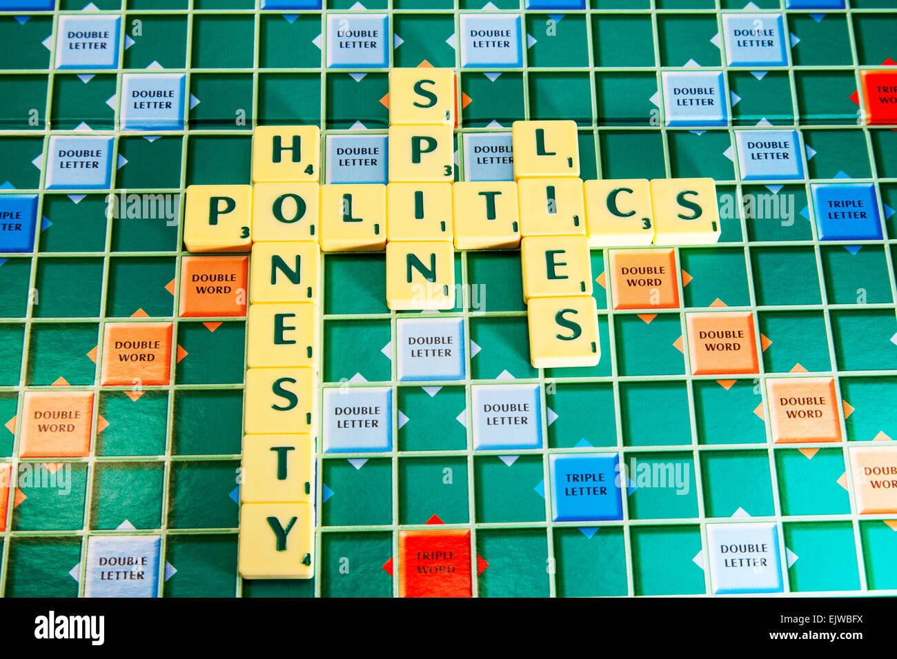 Politics honesty spin lies politicians government election honest lier's words using scrabble tiles to spell - Stock Image