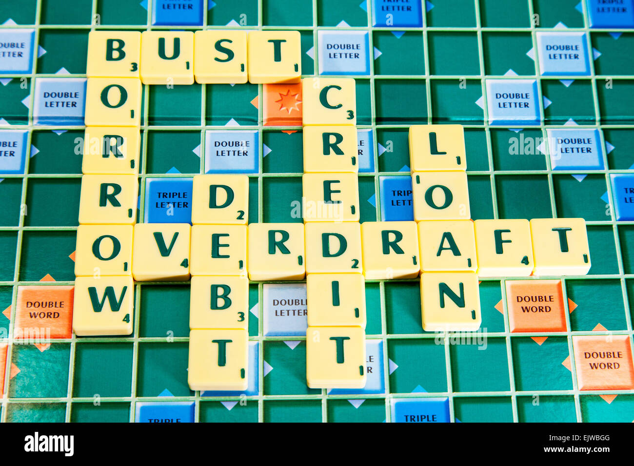 credit borrow overdraft debt bust loan loans bank money cards apr % rate words using scrabble tiles to spell out - Stock Image